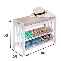 Shoe Racks White Wooden Bench 2 Tier Shoe Stretchers For Mens Storage Organizer Balcony Entrance ...