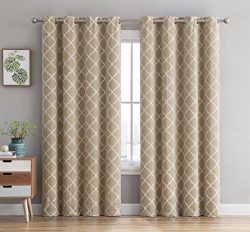 HLC.ME Lattice Embroidered Thermal Blackout Window Curtain Grommet Panels – Energy Efficie ...