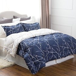 Bedsure Full/Queen Size 8 Piece BED IN A BAG Navy/Camel Branch Pattern Comforter Set Solid Sheet ...