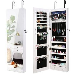 AOOU Jewelry Organizer Jewelry Cabinet 6 LEDs Lockable Wall Door Mounted Armoire with Mirror, Ma ...