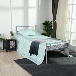 SimLife Twin Size Metal Bed Frame with Headboard and Footboard Mattress Foundation Platform Bed  ...