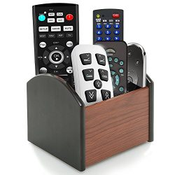 Rotating Remote Control Holder Caddy, Coideal Revolving Wooden 4 Compartment Desktop Office Supp ...
