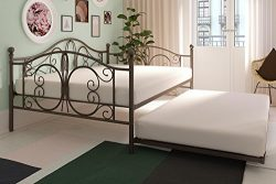 Full Size Metal Daybed with Twin Trundle, Bronze Finish, Multi-functional, Metal Frame, Elegant  ...