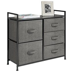mDesign Fabric 5-Drawer Dresser and Storage Organizer Unit for Bedroom, Dorm Room – Charcoal