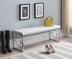 White Bonded Leather / Chrome Metal Frame Square Design Sides Entryway Bedroom Bench