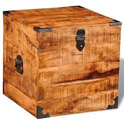 vidaXL Rough Mango Wood Blanket Toy Storage Chests Boxes Trunks Home Decor