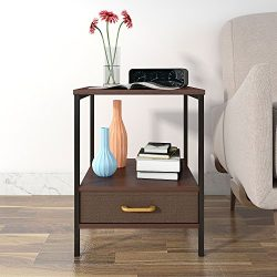 Lifewit 2-tier Side Table End Table, Nightstand with Drawer, Coffee Table for Bedroom Living Roo ...