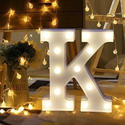 Bokeley Alphabet LED Letter Lights Light Up White Plastic Letters Standing Hanging (K)