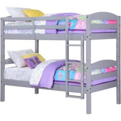 Better Homes and Gardens Leighton Twin Over Twin Wood Bunk Bed, Gray