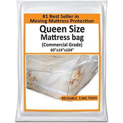 Queen Mattress Bag Cover For Moving Storage – Queen Plastic Protector 5 Mil Thick Supply