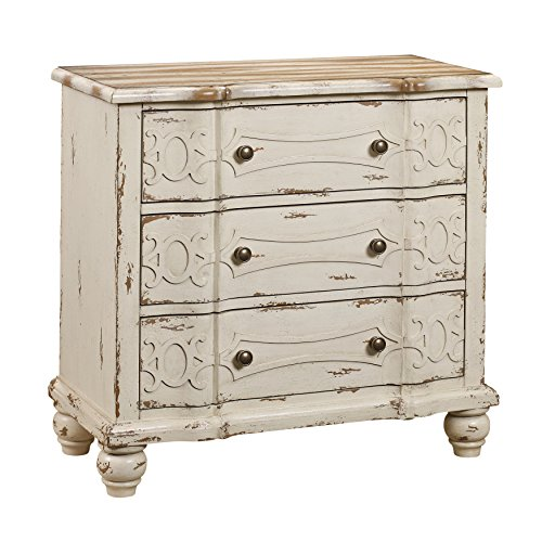 Pulaski DS-2540-850 Ornate Overlay 3 Drawer Accent Storage Chest in weathered cream