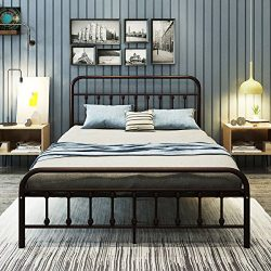 Dumee simple style double wrought-iron bed,Queen iron frame bed,bold thickened steel pipe and vi ...