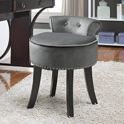 Inspired Home Taylor Velvet Contemporary Nail Head Trim Rolled Back Vanity Stool, Light Grey