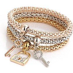 AIMTOPPY 3pcs Charm Women Bracelet Gold Silver Rose Gold Rhinestone Bangle Jewelry Set (Multicol ...