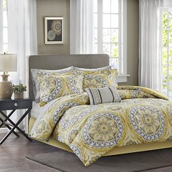 Madison Park Essentials Serenity King Size Bed Comforter Set Bed In A Bag – Yellow, Medall ...
