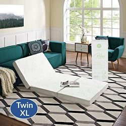 "Modway 4"" Relax Twin XL Tri-Fold Mattress CertiPUR-US Certified with Soft Removable Cover and No ..."