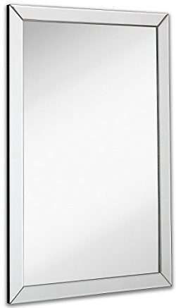 Large Flat Framed Wall Mirror with 2 Inch Edge Beveled Mirror Frame | Premium Silver Backed Glas ...
