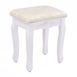 Giantex White Vanity Stool Retro Wave Design Makeup Bench Dressing Stool Pad Cushioned Chair Pia ...