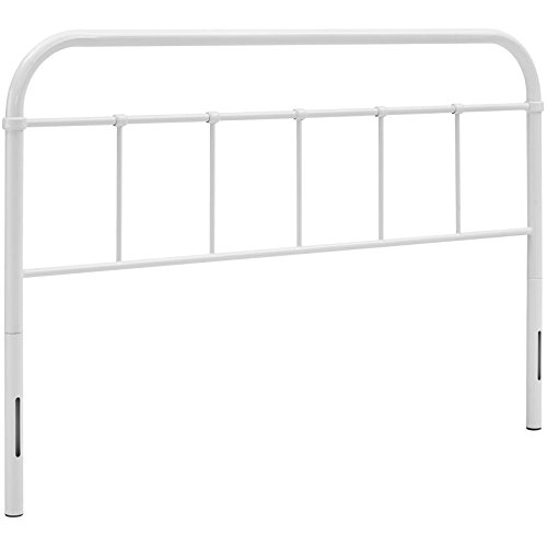 Modway Serena Rustic Farmhouse Style Steel Metal Headboard in White, Queen Size