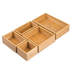 InterDesign Formbu Bamboo Drawer Organizers for Kitchen, Dresser, Bathroom, Desk, Bedroom – Natu ...