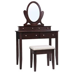 SONGMICS Vanity Table Set with Mirror, 4 Drawers and Large Stool, Makeup Dressing Table with Woo ...