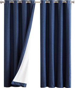 HLC.ME Textured 100% Blackout Room Darkening Thermal Insulated Curtain Grommet Panels For Bedroo ...