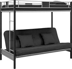 DHP Silver Screen Twin-Over-Futon Metal Bunk Bed With Ladder – Silver/Black