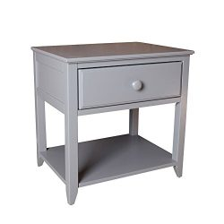 Max & Lily Solid Wood Nightstand, Grey