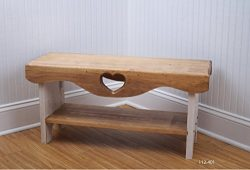 Farmhouse Bench, Bedroom Bench, Shaker Bench, Heart Bench, Bench with Shelf, Wood Bench, Rustic  ...