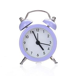 CieKen Twin Bell Alarm Clock No Ticking Analog Quartz Alarm,Battery Operated with Nightlight and ...