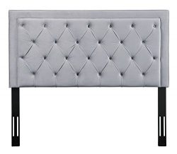 Tov Furniture The Nacht Collection Tufted Upholstered Wood & Metal Headboard, King Size, Grey