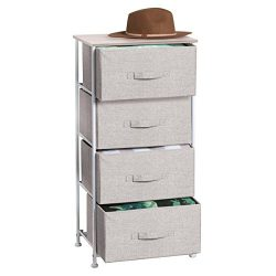 mDesign Fabric 4-Drawer Storage Organizer Dresser for Clothing, Sweaters, Jeans, Blankets &#8211 ...