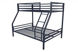 Novogratz Maxwell Twin/Full Metal Bunk Bed, Sturdy Metal Frame with Ladder and Safety Rails, Nav ...