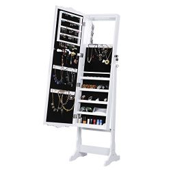 LANGRIA 10 LEDs Jewelry Cabinet Standing Large Mirrored Jewelry Armoire Lockable Holder Organize ...