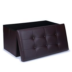 WoneNice Faux Leather Folding Storage Ottoman, Use as Bench, Footstool, Toy Box, Blanket Box,Sto ...
