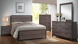 Kings Brand Antique Grey Wood Queen Size Bedroom Set. Bed, Dresser, Mirror, Chest & 2 Night  ...