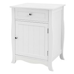 SONGMICS Nightstand End Table with Metal Slider Drawer, Bathroom Cabinet, Wooden Accent Table So ...