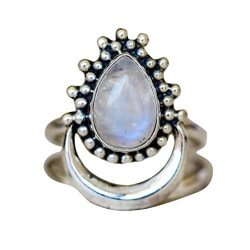 SMALLE◕‿◕ Clearance,1PC Boho Jewelry Silver Natural Gemstone Moon White Opal Personalized Ring