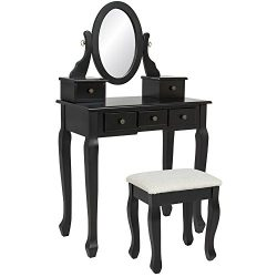 Mefeir Princess Dressing Table Stool with Mirror, Gloss Bedroom Vanity Wooden Set, Girl Small Ma ...