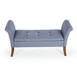 Belleze Storage Couch | Bradley Bench | Upholstered Settee | Tufted Button | Wood Legs | Home |  ...