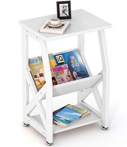 Tribesigns Modern Chairside End Table Nightstand with Storage Shelves for Bedroom, Living Room,  ...