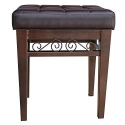 crownroyaljack Furniture Square Piano Bench Bathroom Vanity Bench Makeup Stool Chairs, Brown