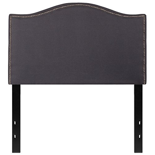 Flash Furniture Lexington Upholstered Twin Size Headboard with Decorative Nail Trim in Dark Gray ...