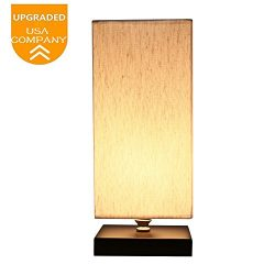 Bedside Table Lamp,TESLACOM Minimalist Solid Wood Table Lamps Nightstand Mini Desk Lamp UL Liste ...