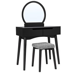 SONGMICS Vanity Table Set with Round Mirror 2 Large Sliding Drawers Makeup Dressing Table with C ...