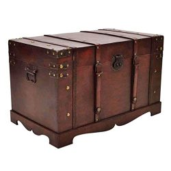 vidaXL Large Wooden Treasure Storage Thunk Blanket Chest Vintage Antique Style
