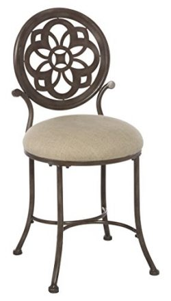Hillsdale 50981 Marsala Vanity Stool, Gray with Brown highlighting with Cream Fabric
