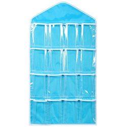 Goddessvan 16 Pockets Clear Hanging Bag Rack Hanger Storage Organizer for Socks/Bra/Underwear (Blue)