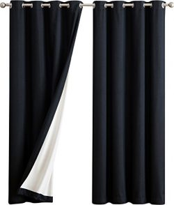HLC.ME Textured 100% Full Blackout Room Darkening Thermal Insulated Curtain Grommet Panels For B ...