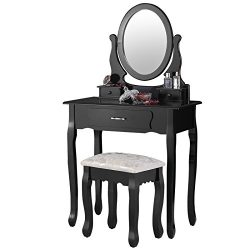 Mecor Vanity Table Set with Oval Mirror Makeup Dressing Table 3 Drawers and Cushioned Stool,Black